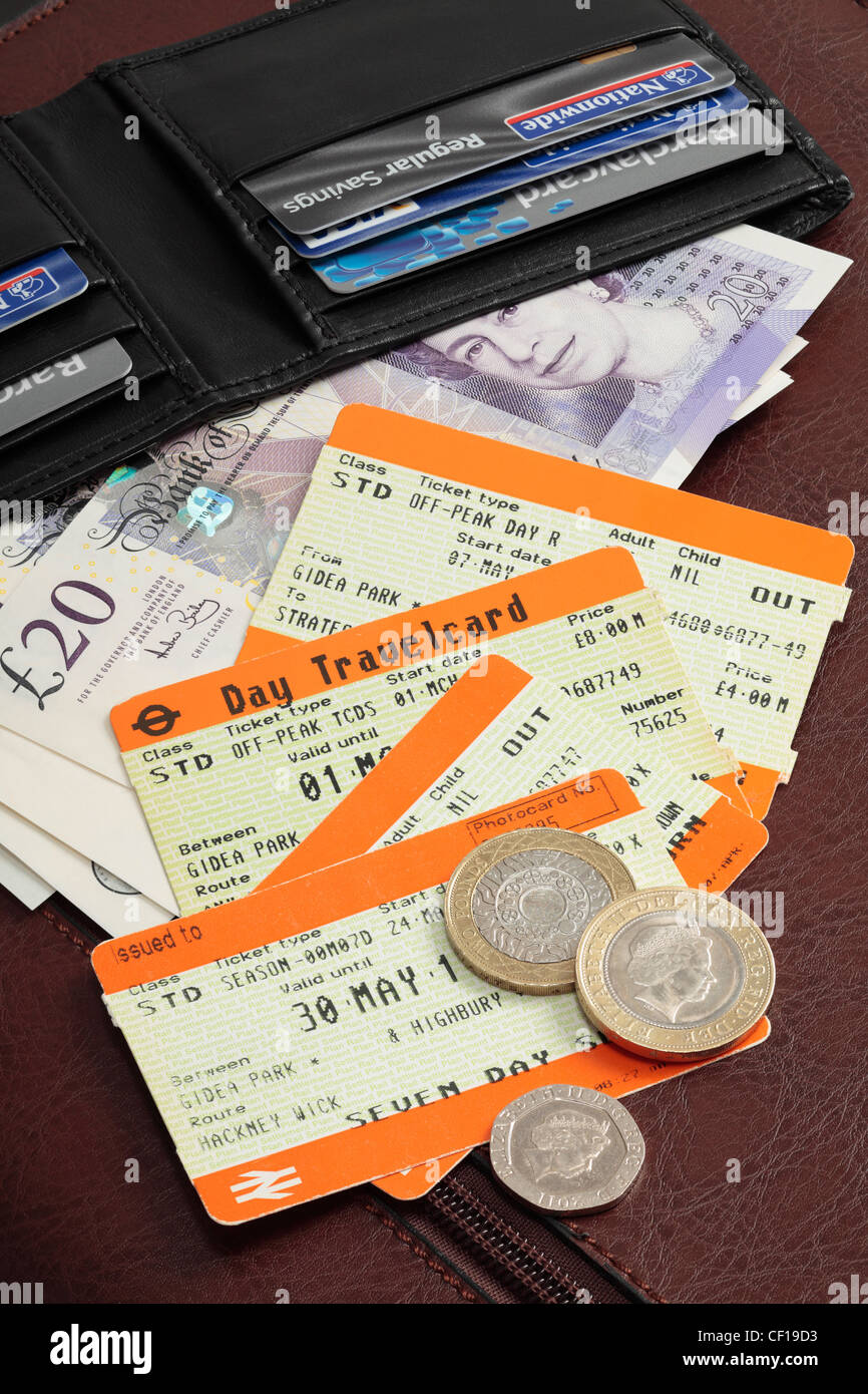 Train tickets - spiralling cost of rail fares. - Stock Image