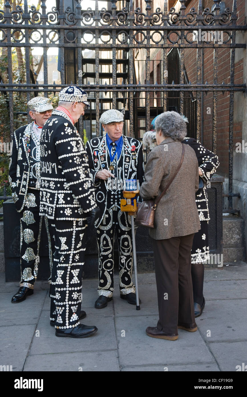 Pearly Kings and Queens collecting money for charity in Covent Garden, London Stock Photo