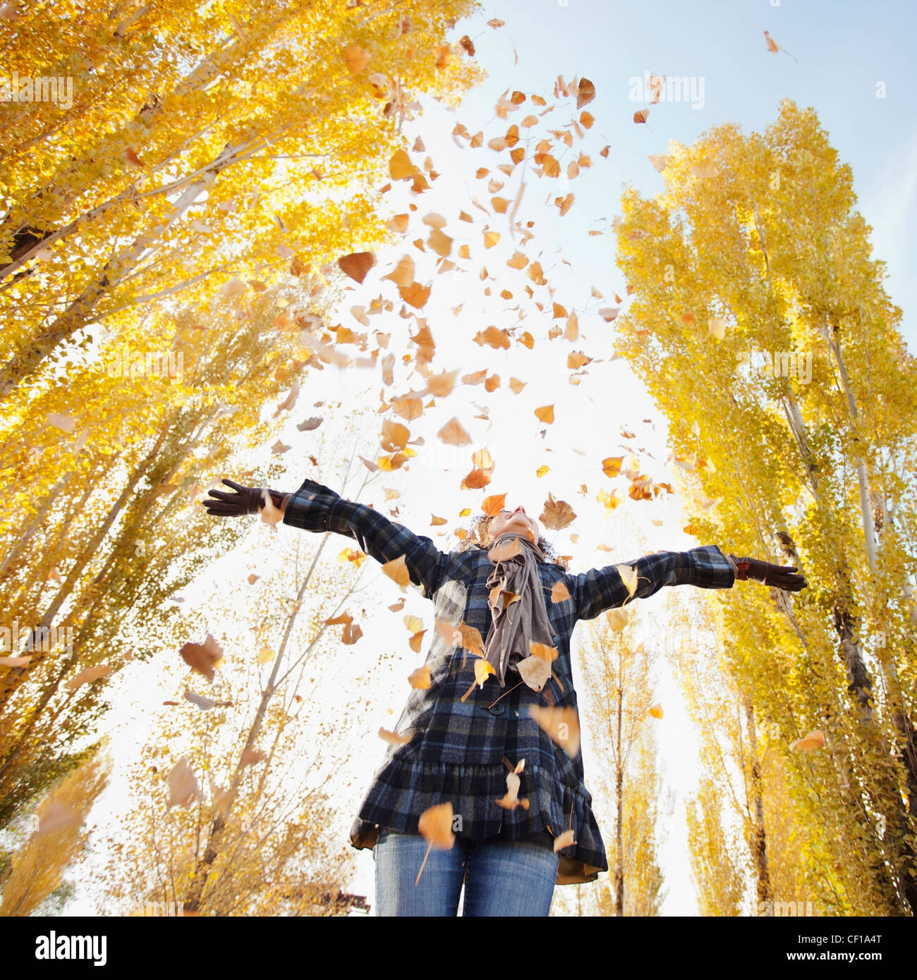 Caucasian woman playing with autumn leaves Stock Photo