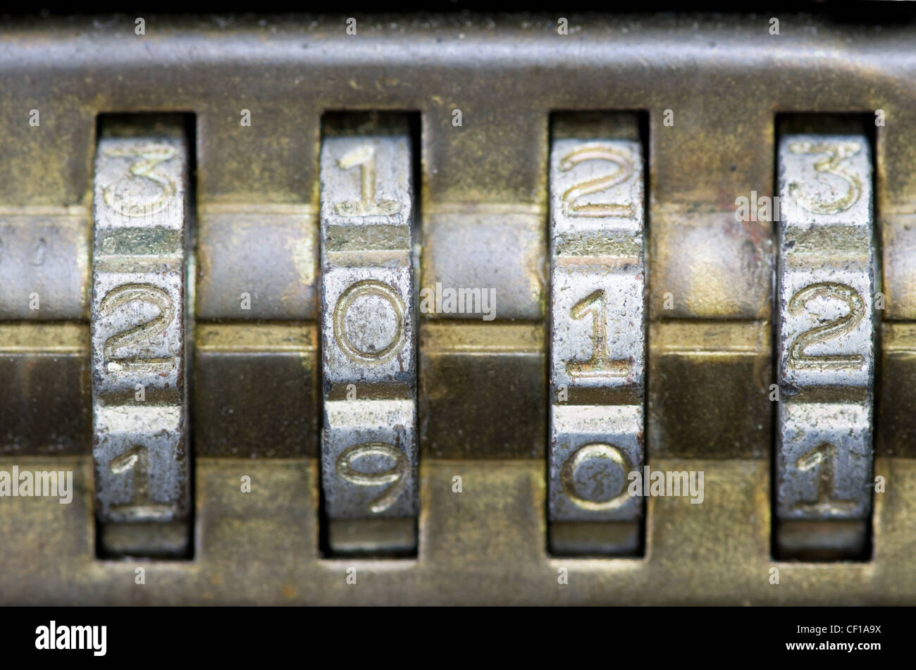 brass combination lock with the number set to 2012 - Stock Image