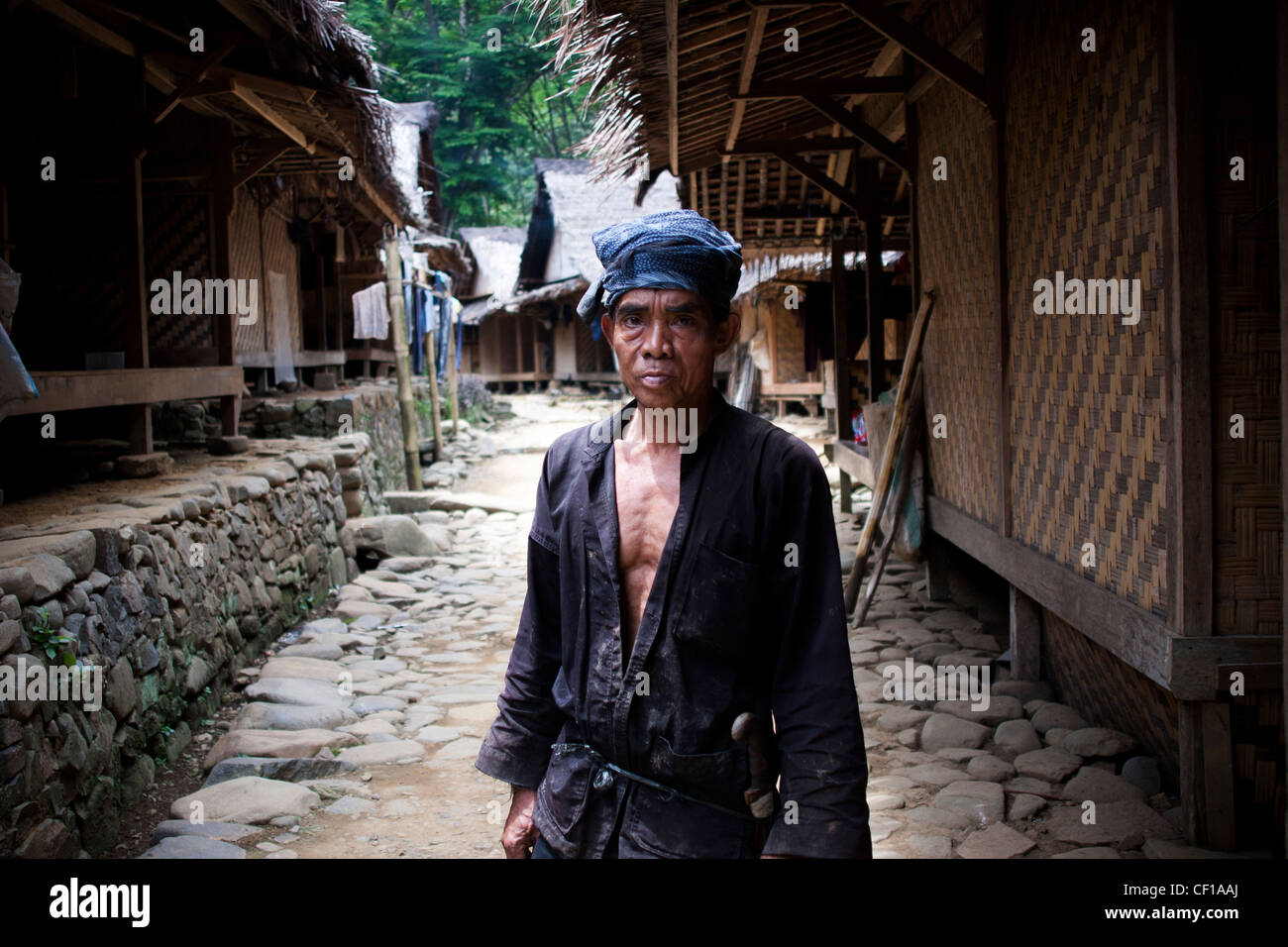 Mr. Sali is a parent who is respected by the local community in Baduy village of Foreign Gajeboh. - Stock Image