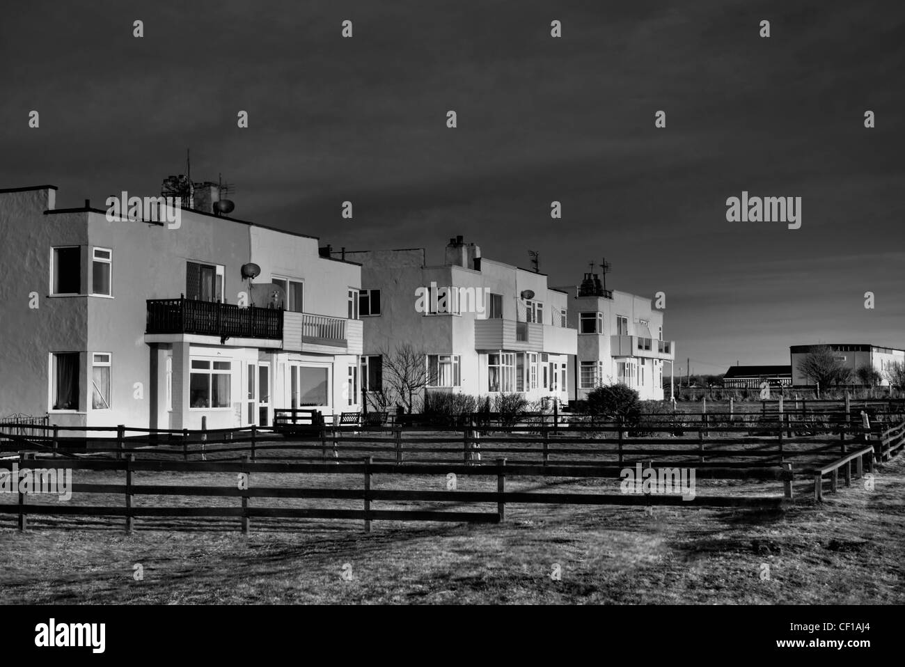 Retro sea front houses at Bridlington - Stock Image