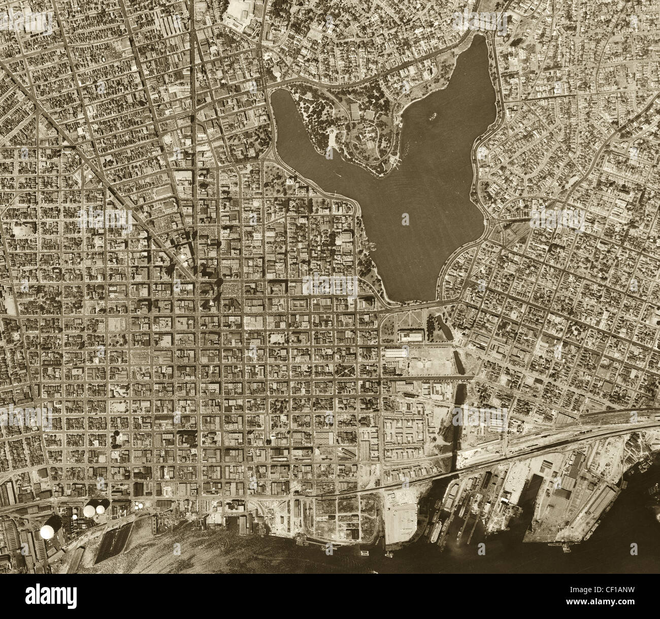 Vintage map of oakland stock photos vintage map of oakland stock historical aerial photograph oakland california 1946 stock image publicscrutiny Image collections