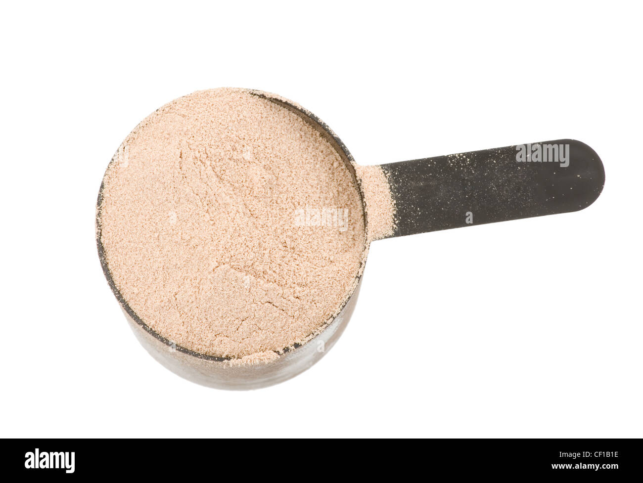 chocolate flavor protein powder in a plastic scoop isolated on white background - Stock Image