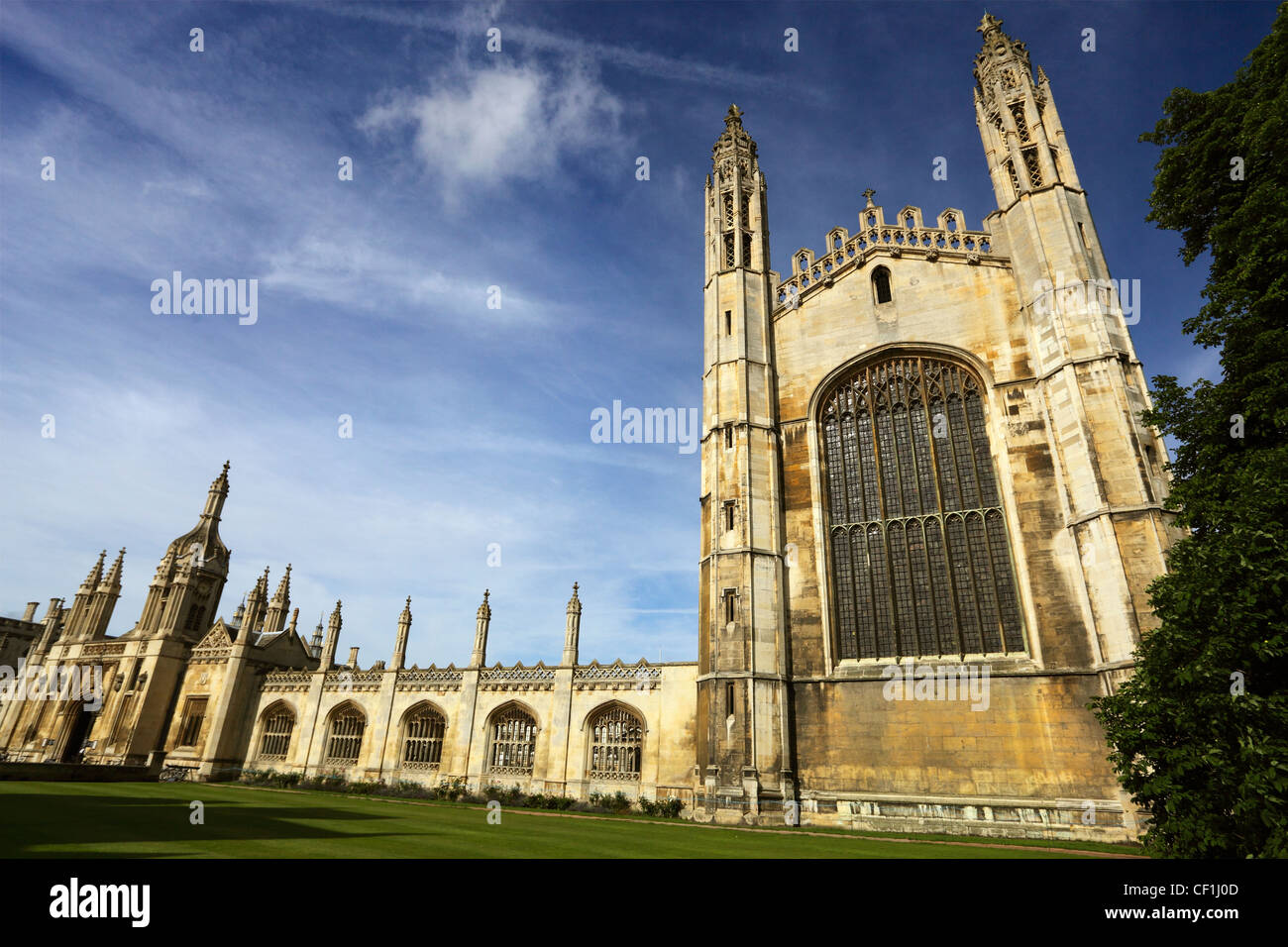 Entrance and Chapel of King's College, Cambridge, one of the finest examples of late Gothic (Perpendicular) - Stock Image