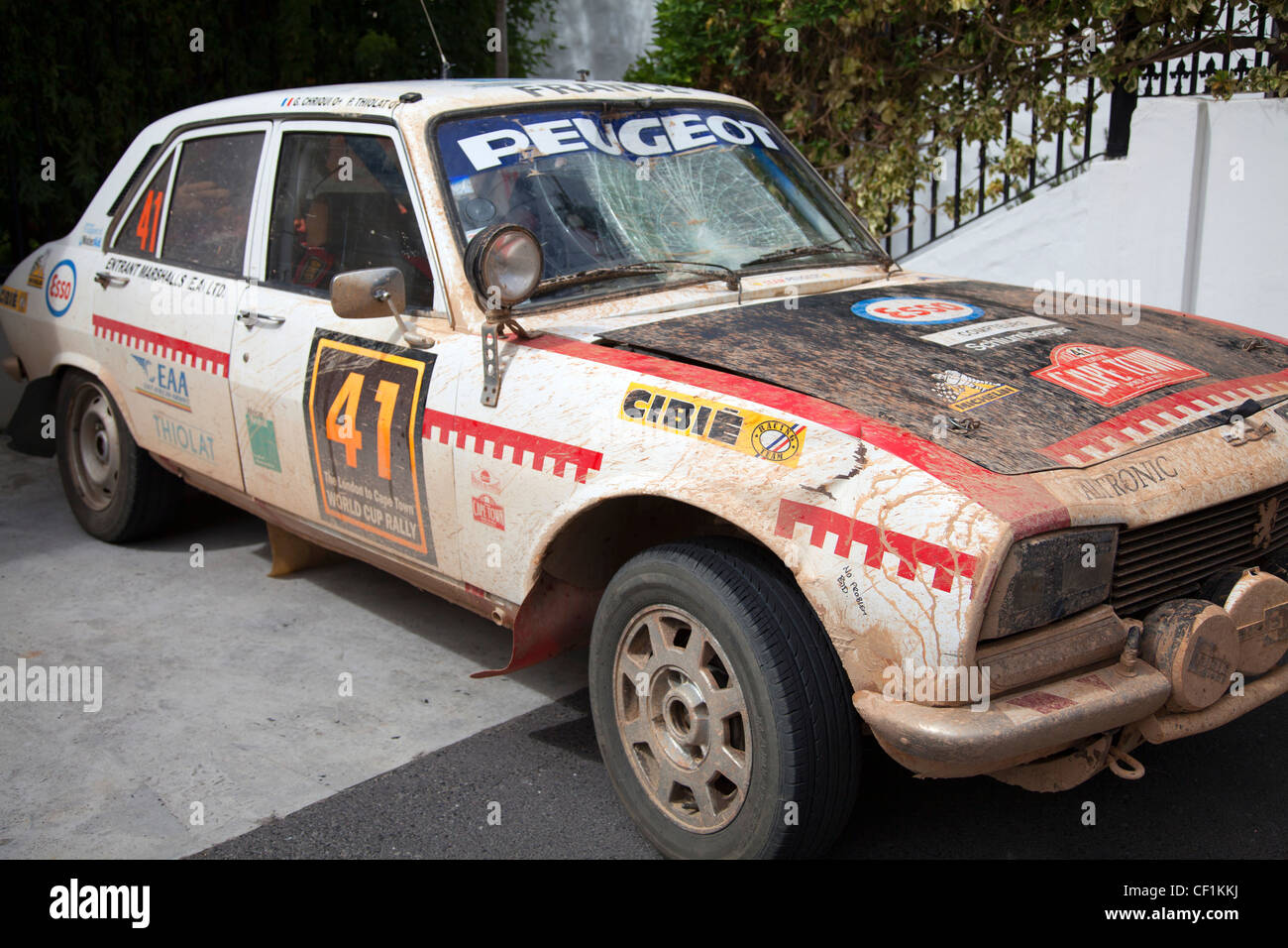 London to Cape Town Rally Car - Guy Chriqui and Philippe Thiolat finished 15th overall - Stock Image
