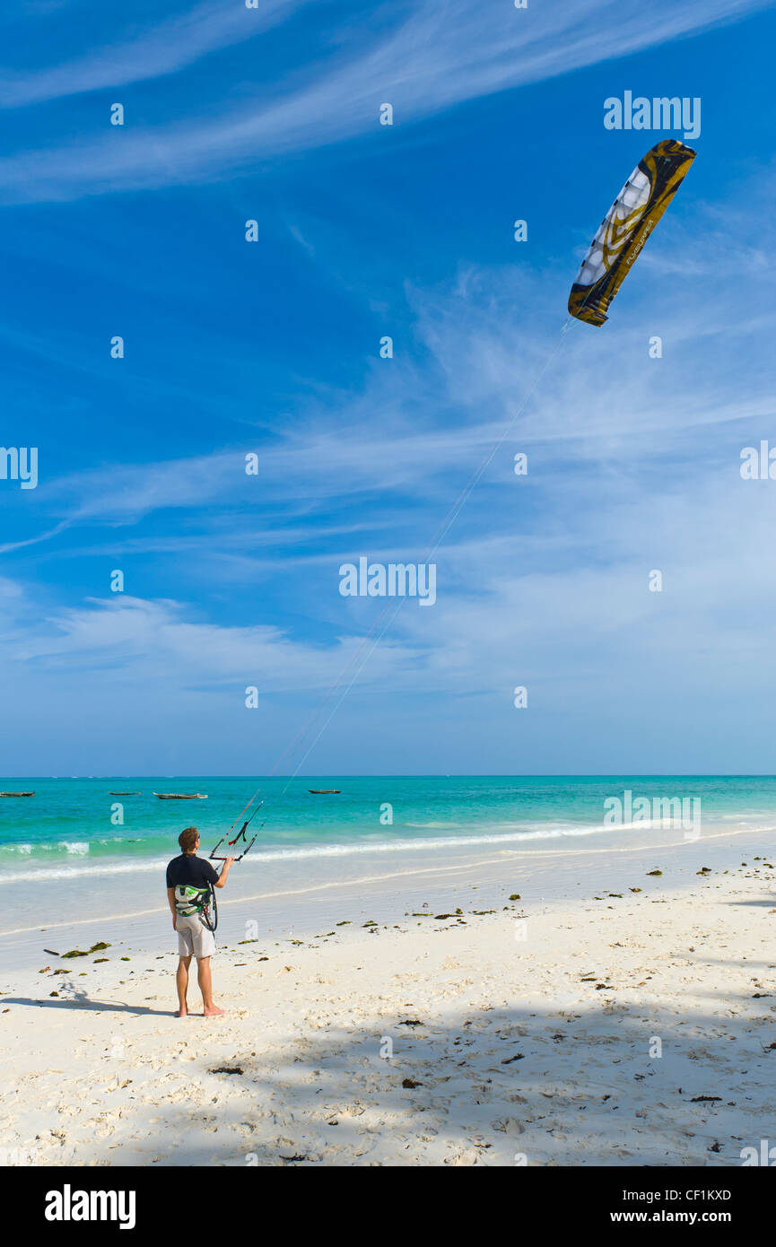 Kite surfer beginner practicing control and steering, Paje, Zanzibar, Tanzania - Stock Image