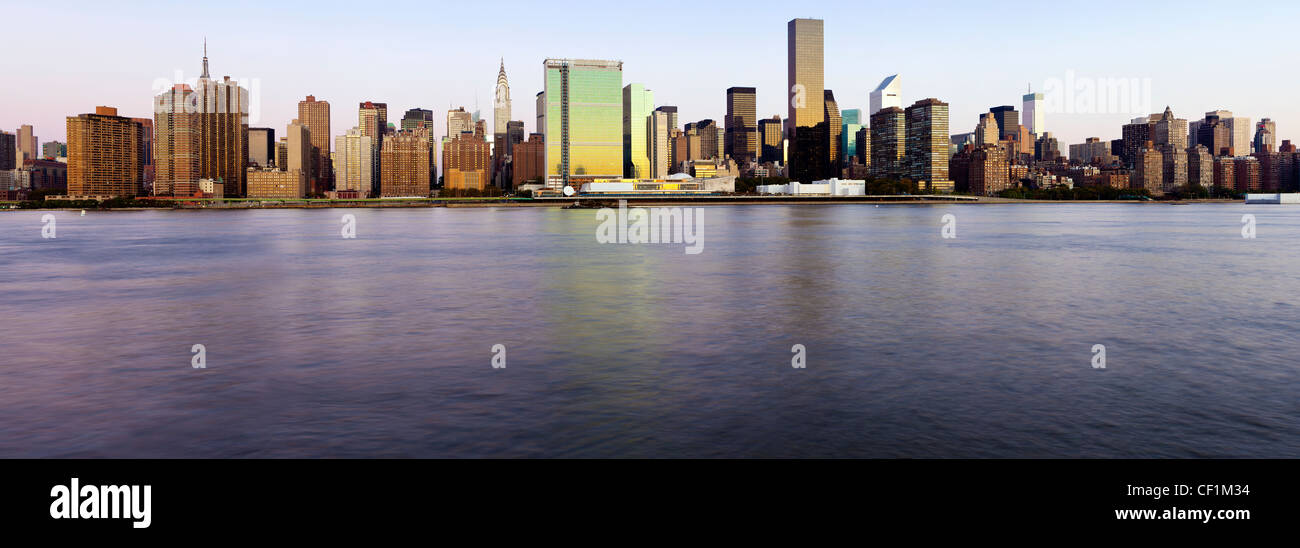 Skyline of Midtown Manhattan, East River, New York, United States of America Stock Photo