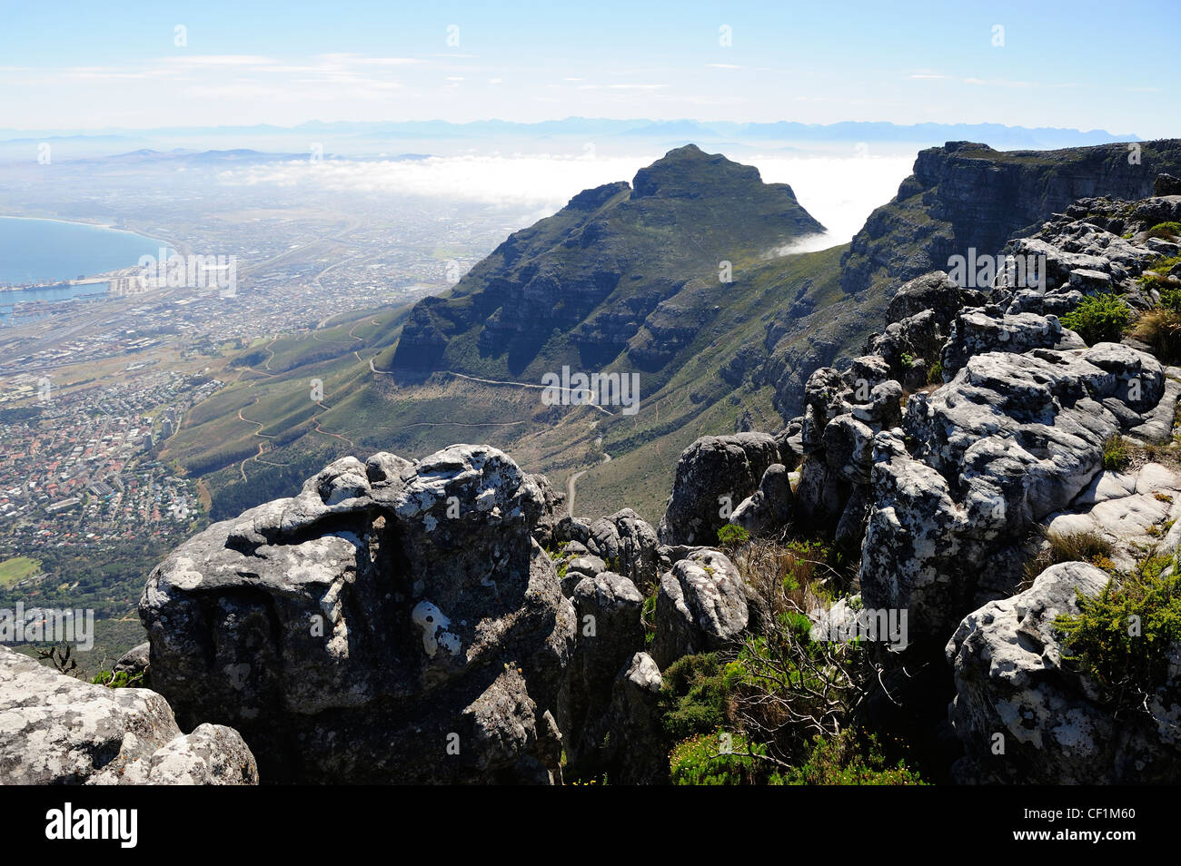 Sheer cliffs of Table Mountain, Cape Town, Western Cape, South Africa - Stock Image