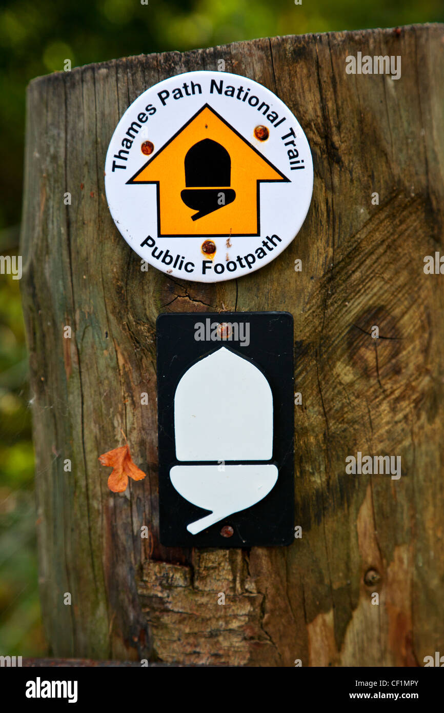 Thames Path National Trail sign on a wooden gatepost indicating the direction of the public footpath. - Stock Image