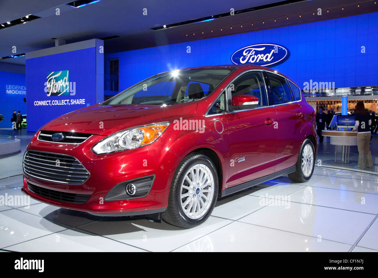 Detroit, Michigan - The 2013 Ford C-Max Energi plug-in hybrid electric car on display at North American International - Stock Image