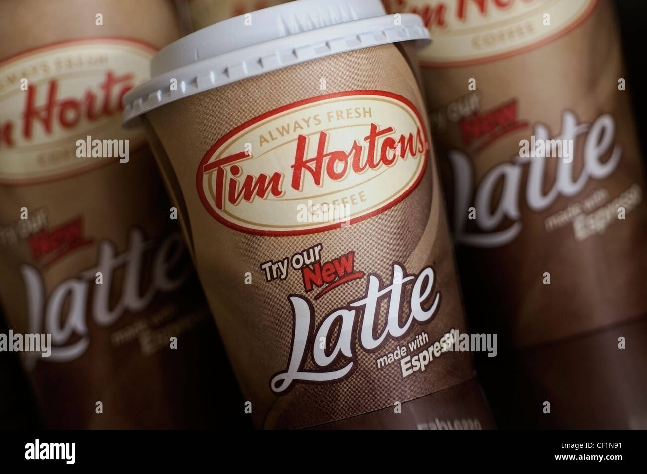 Coffee Cups, Tim Hortons Latte - Stock Image