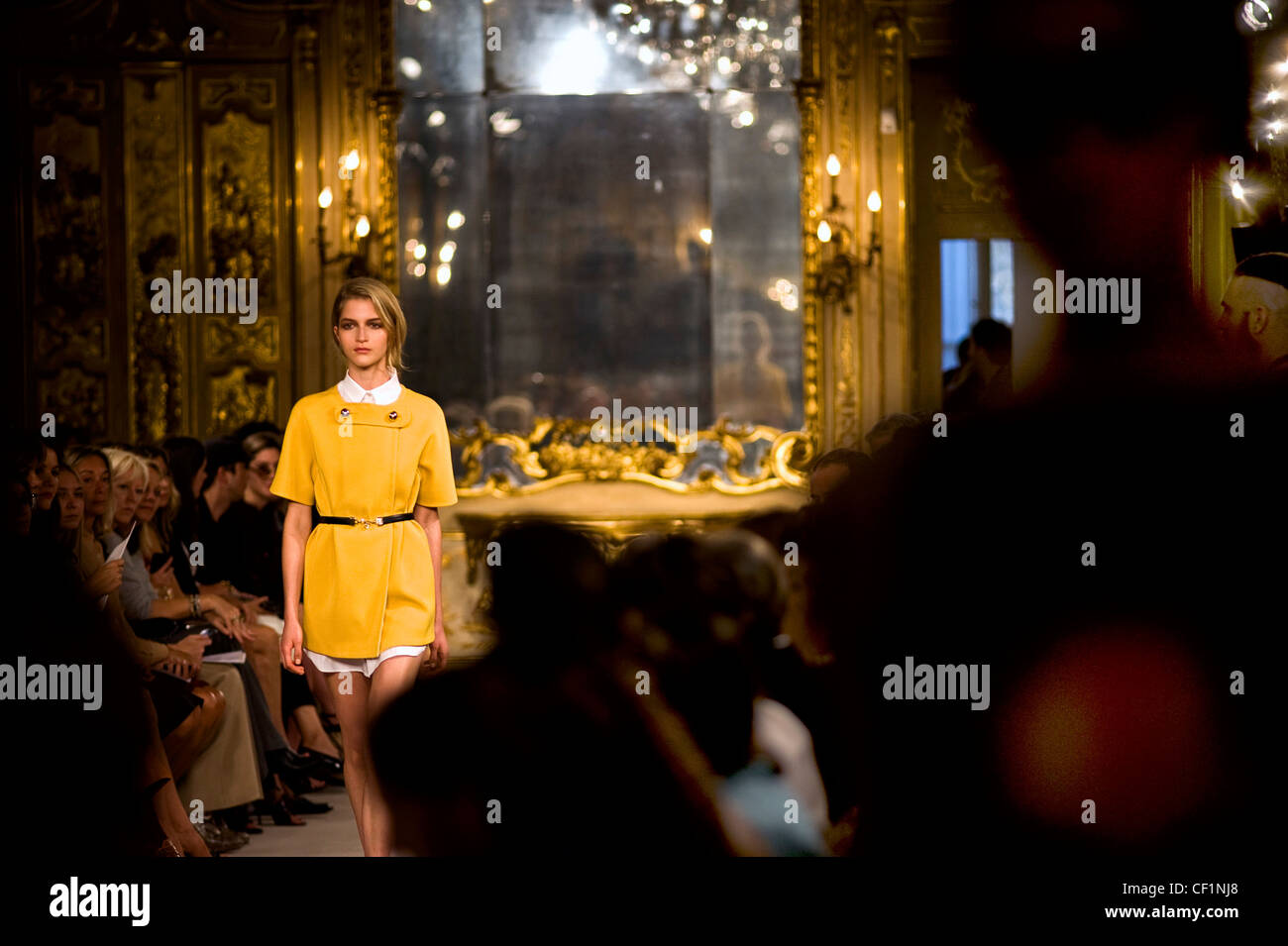 model on the catwalk at les copains show at milan fashion week - Stock Image