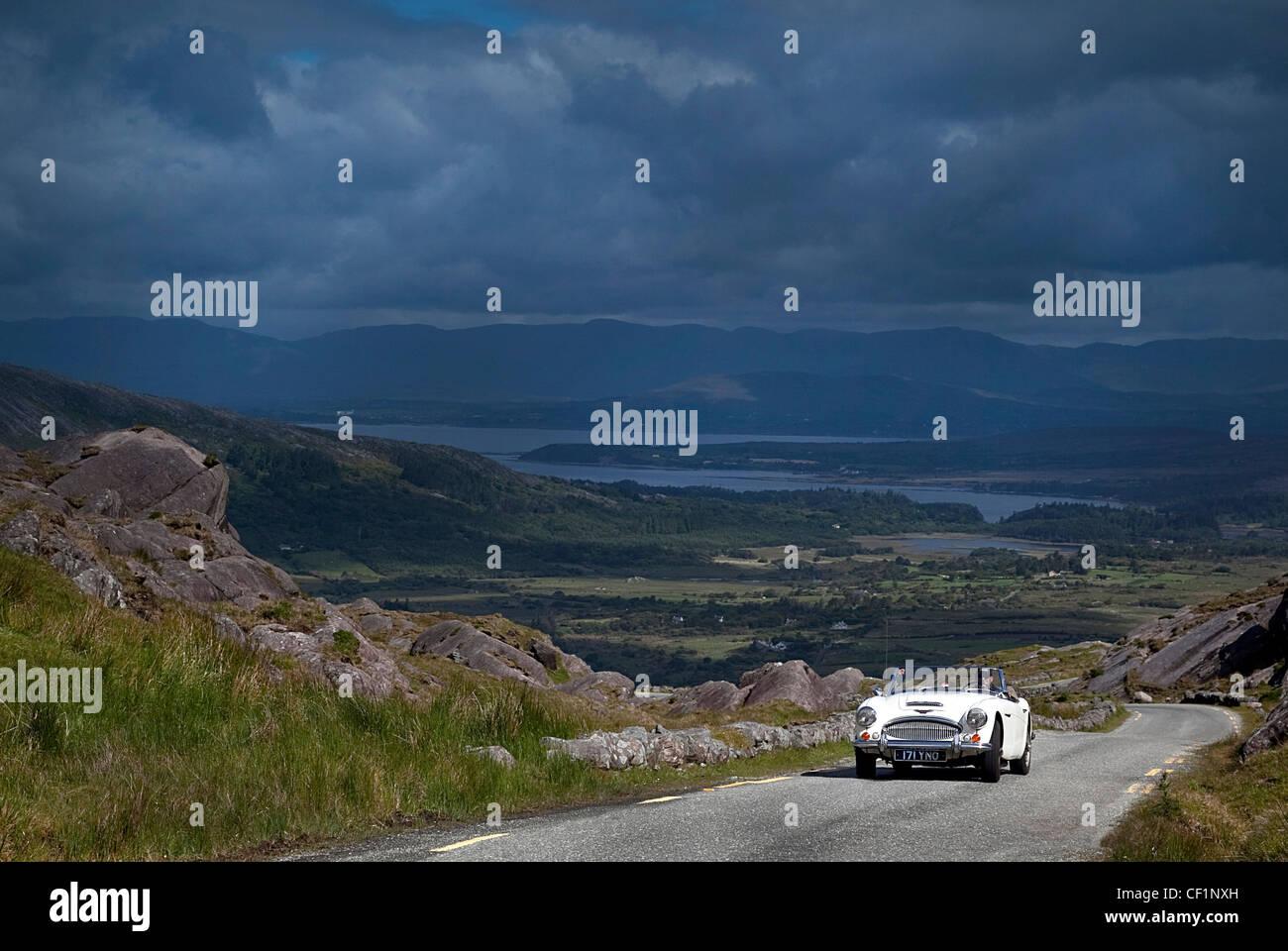 Austin Healey 3000 on the Healy Pass Co. Kerry Ireland - Stock Image