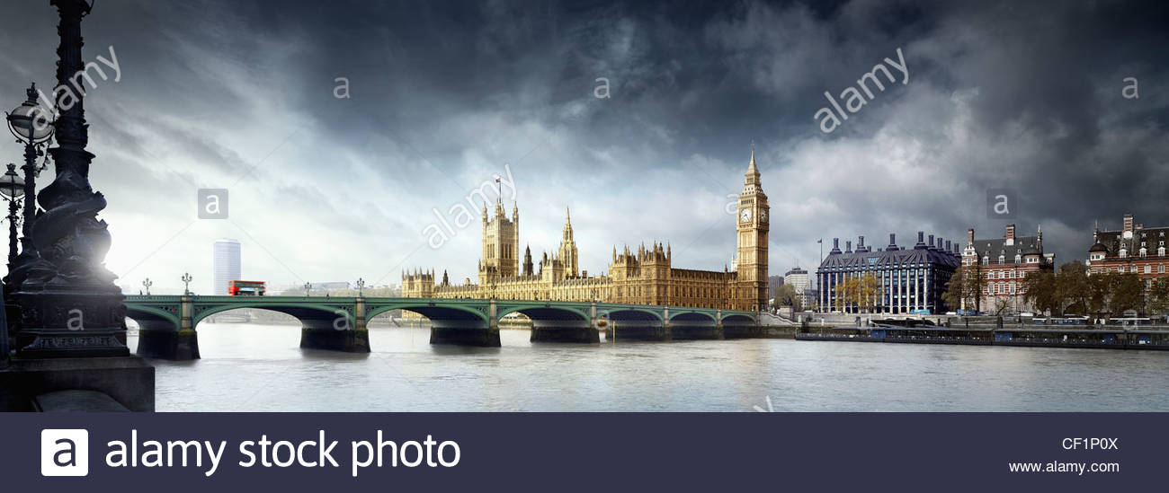 A view across Westminster Bridge to the Houses of Parliament. - Stock Image