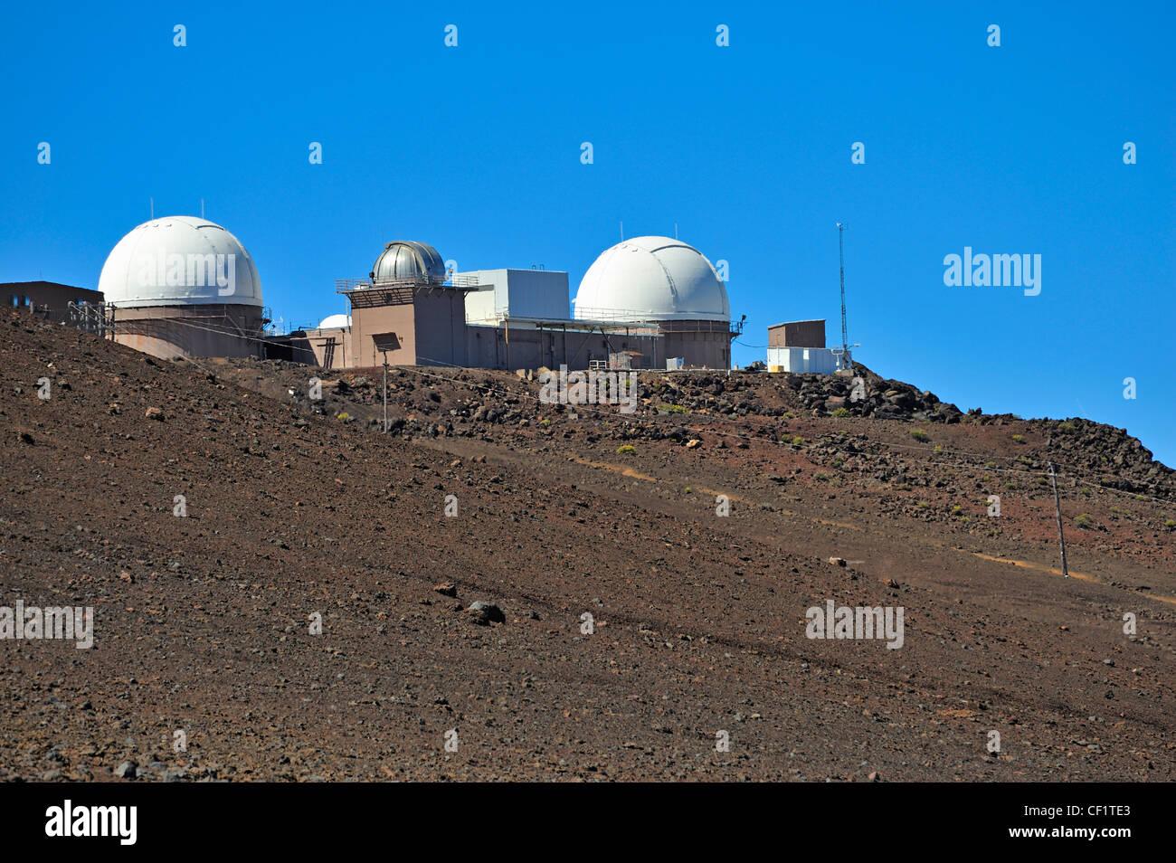 Haleakala Observatory at the Maui Space Surveillance Complex, Haleakala National Park, Maui Island, Hawaii Islands, Stock Photo