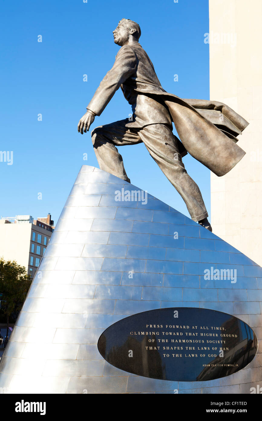 Adam Clayton Powell Jr statue on Malcolm X Blvd, Harlem, New York, United States of America - Stock Image