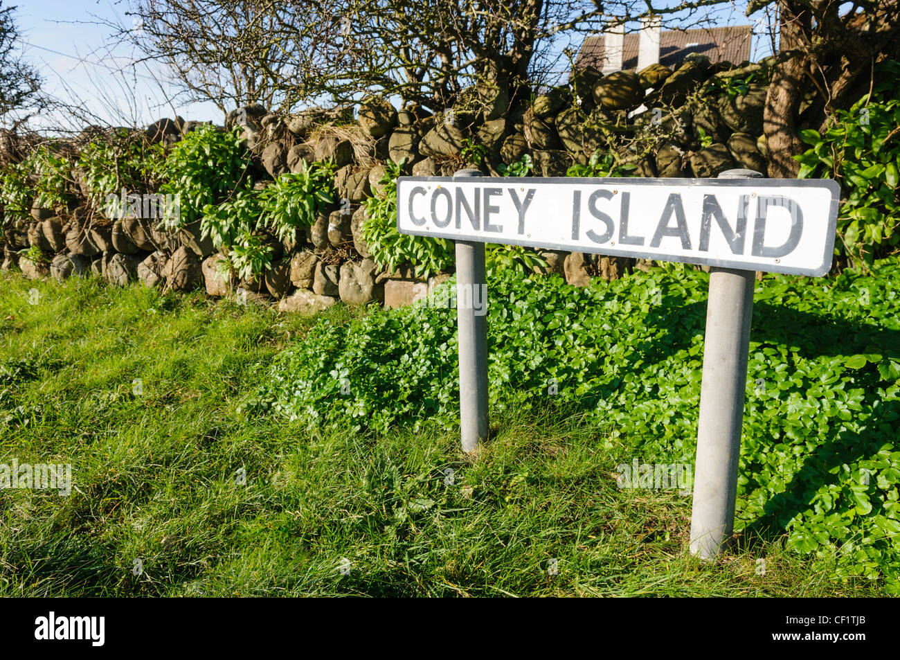 Road sign for Coney Island. Location used in the 2012 Oscar winning short film 'The Shore' by Terry George. - Stock Image