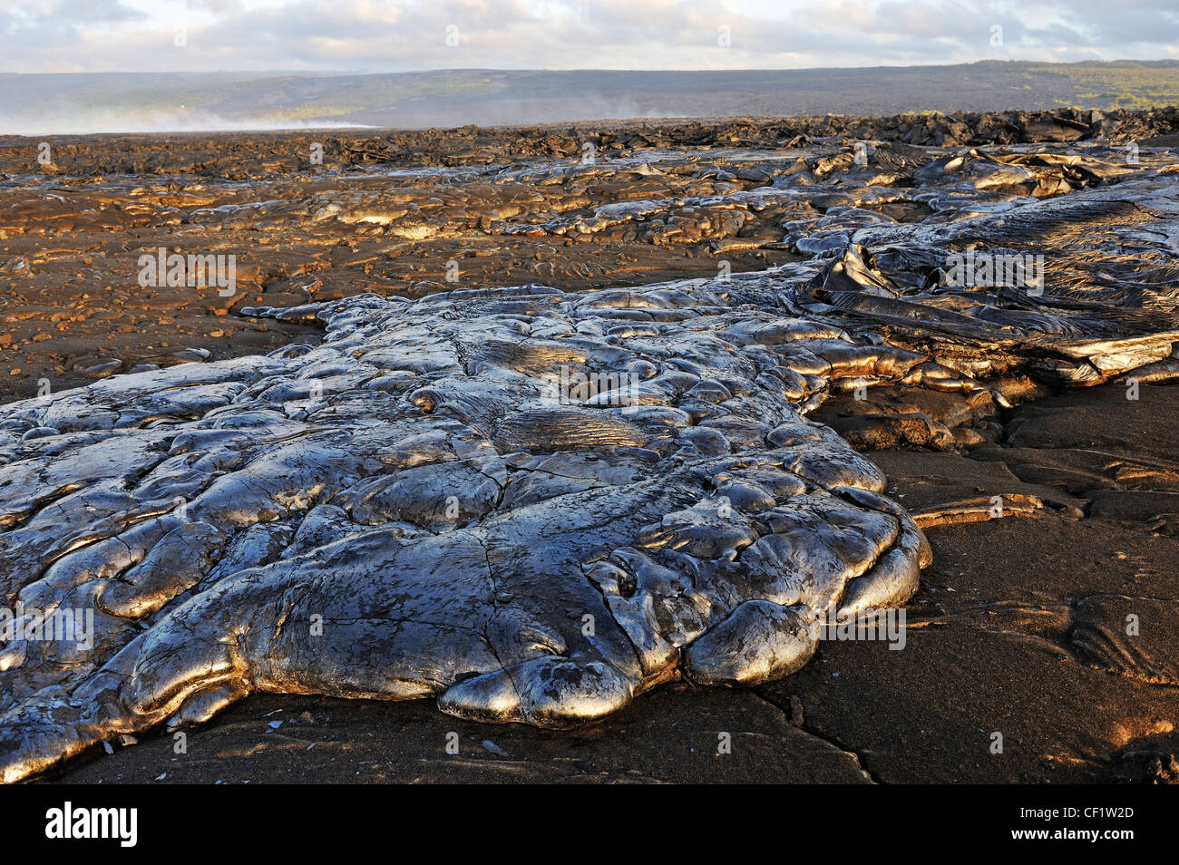 Cooled pahoehoe lava flow, Kilauea Volcano, Big Island, Hawaii Volcanoes National Park, USA - Stock Image