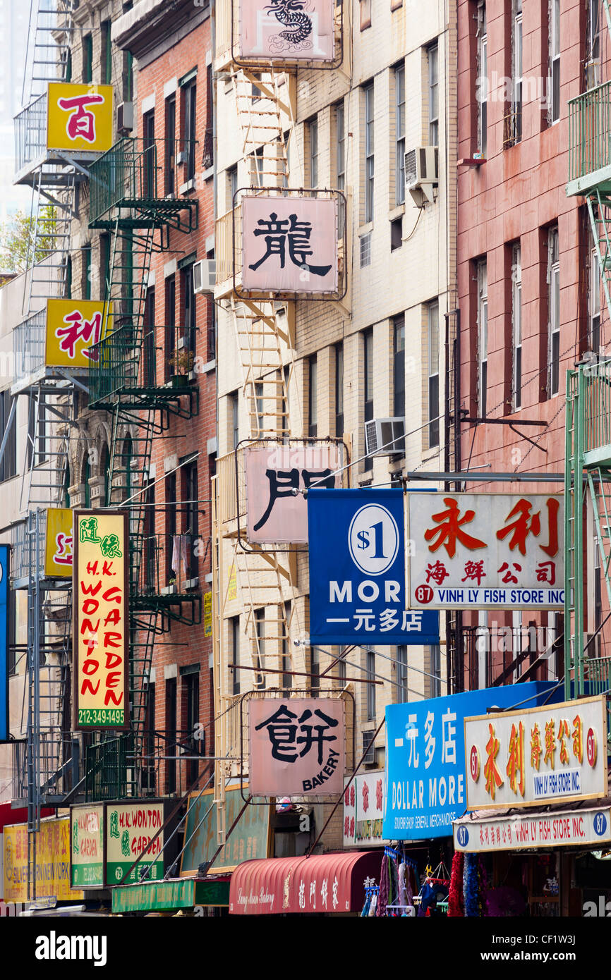 Street scene in Chinatown, Manhattan, New York, United States of America - Stock Image