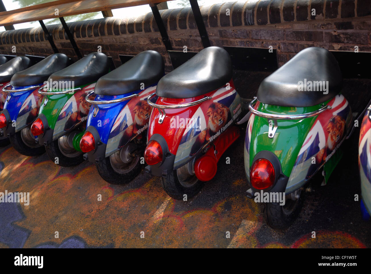 Novelty stools in the shape of scooters in Camden market. - Stock Image