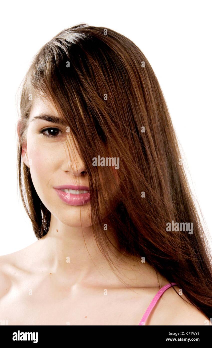 Female Long Straight Brunette Hair Swept Back To Front Over Half Of
