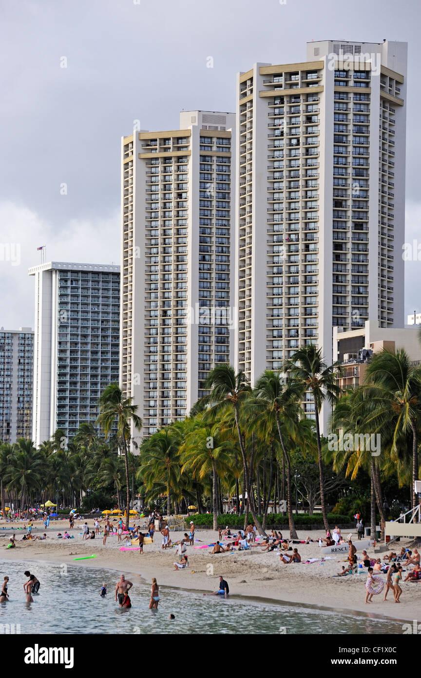 Waikiki beach, Honolulu, Oahu Island, Hawaii, USA - Stock Image