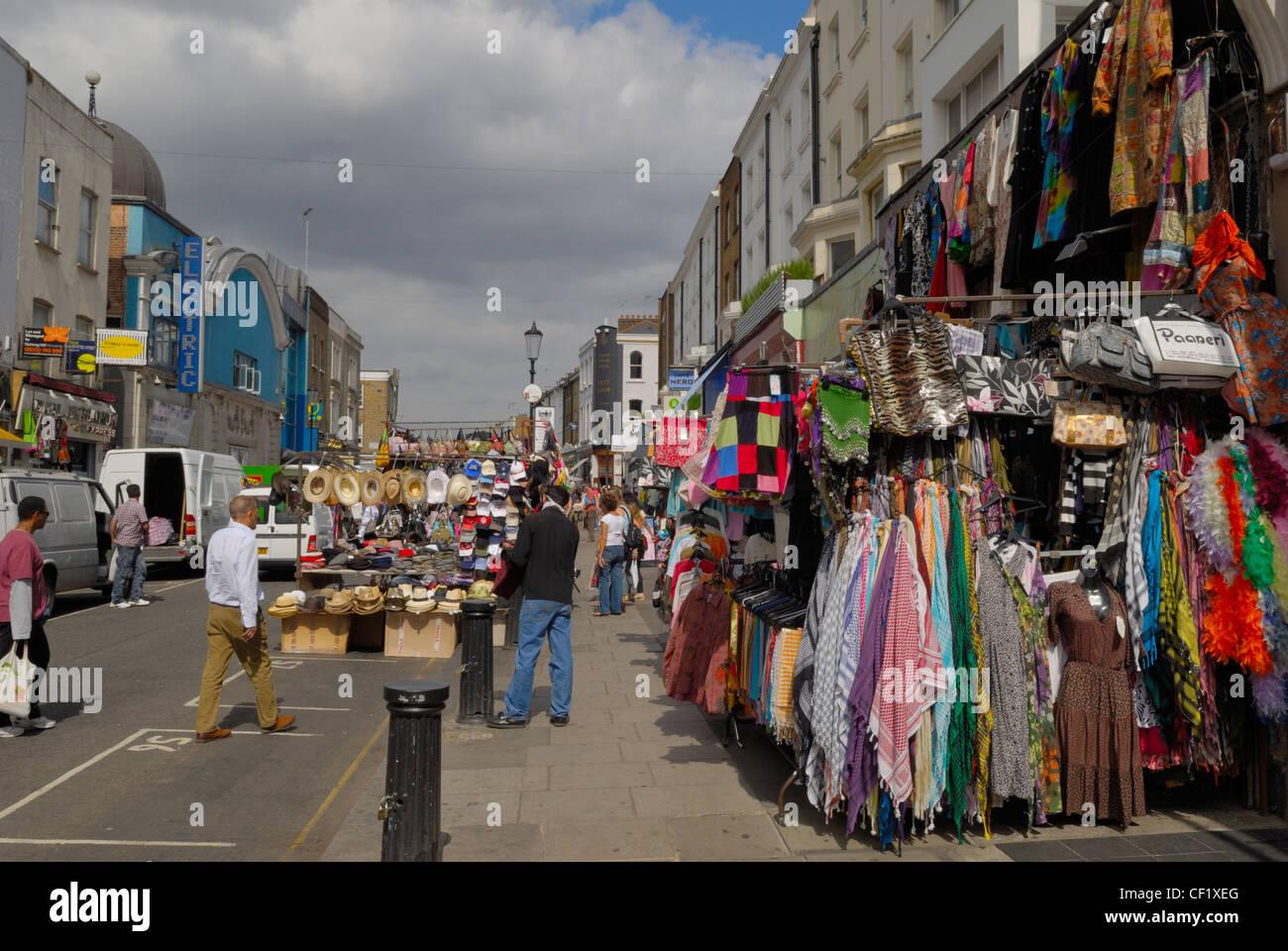 Market stalls in Portobello Road. Portobello Road is famous for its street market. - Stock Image