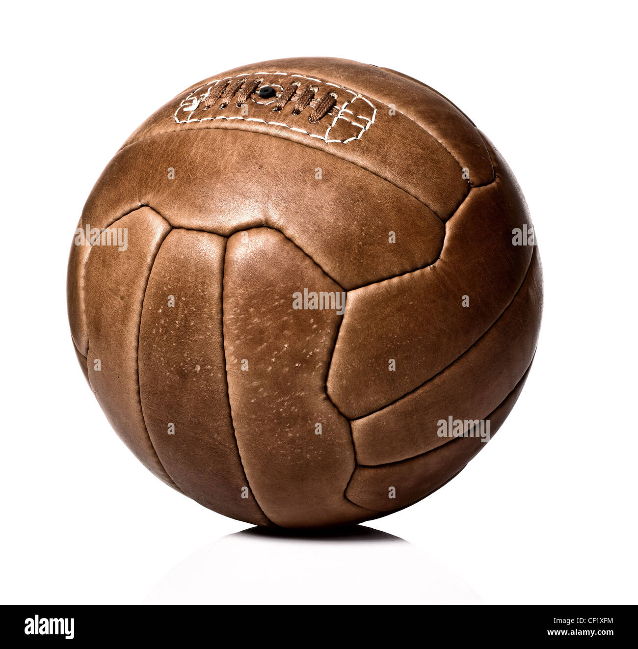 image of retro leather soccer ball - Stock Image