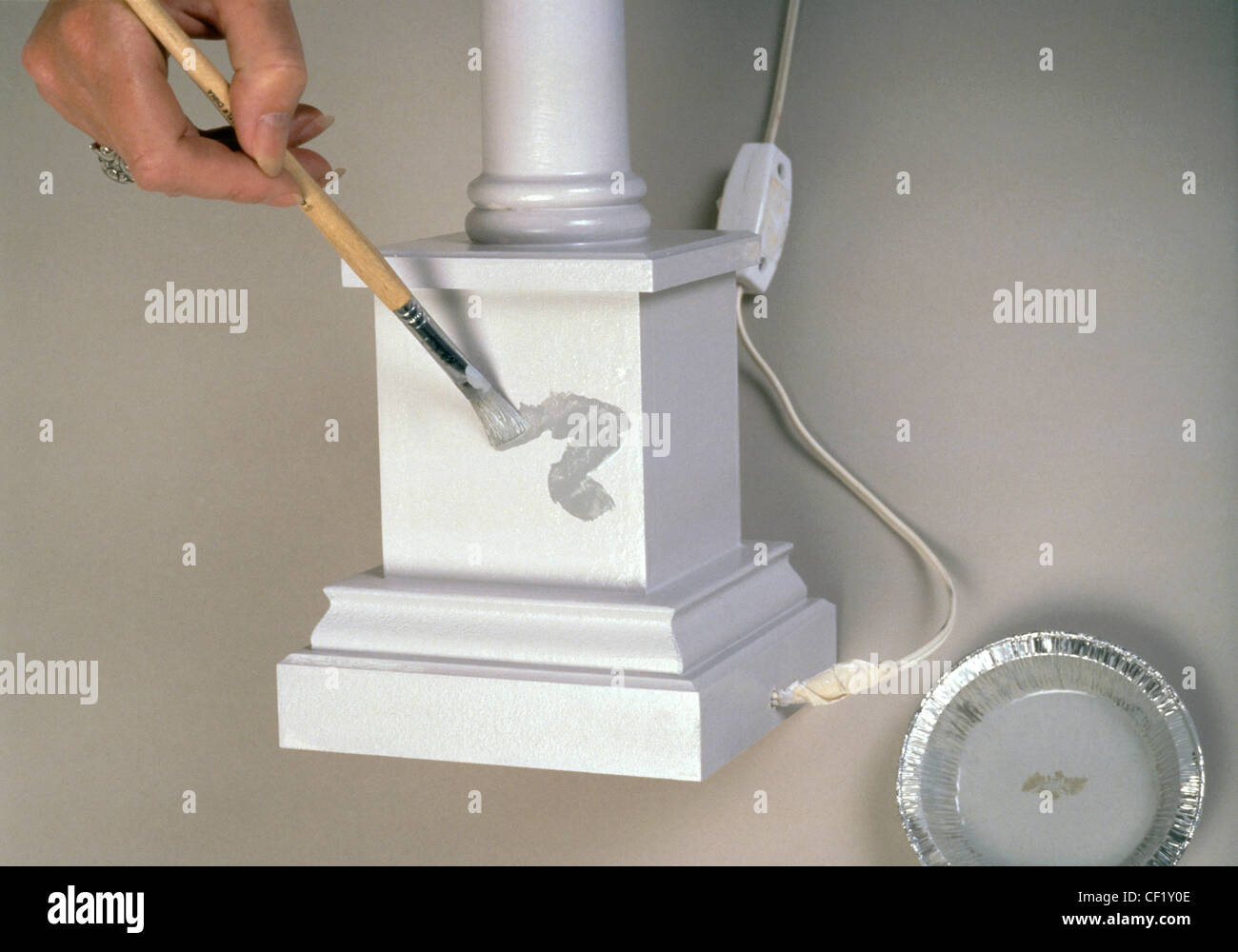 FORMock marble Reproducing a marble effect need not be as tricky as it appears Step by step grey marble paint effect - Stock Image