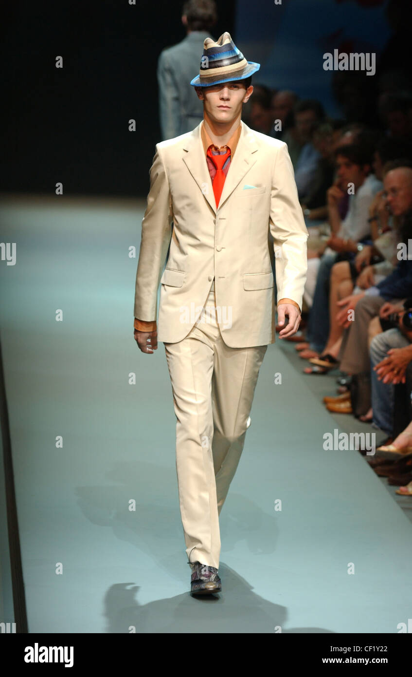 c7d71596bf30 Prada Menswear Ready to Wear Spring Summer Model short brown hair wearing  blue brown and black striped hat