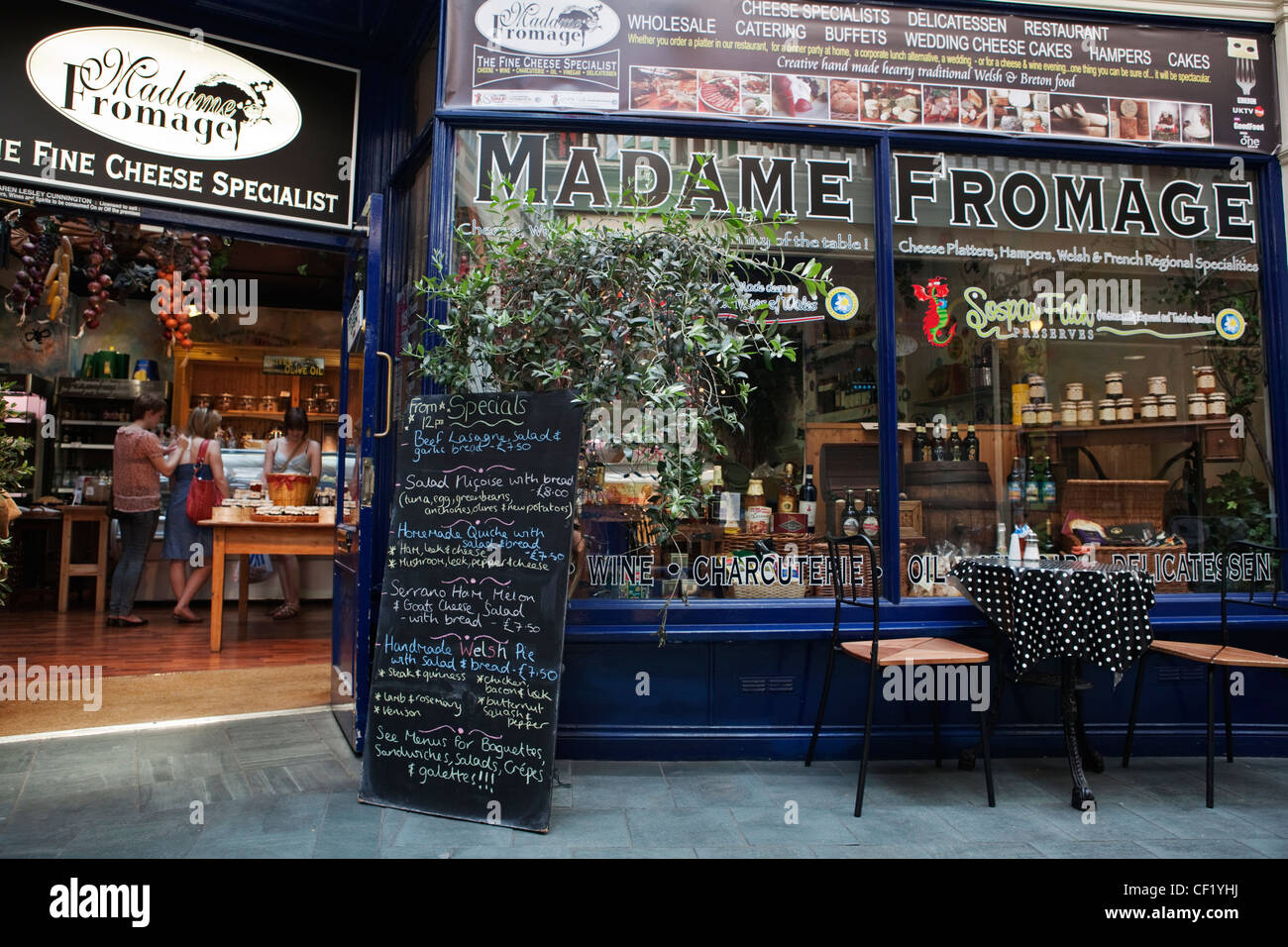 The shop front of Madame Fromage, a speciality cheese shop in Castle Arcade in the centre of Cardiff. - Stock Image