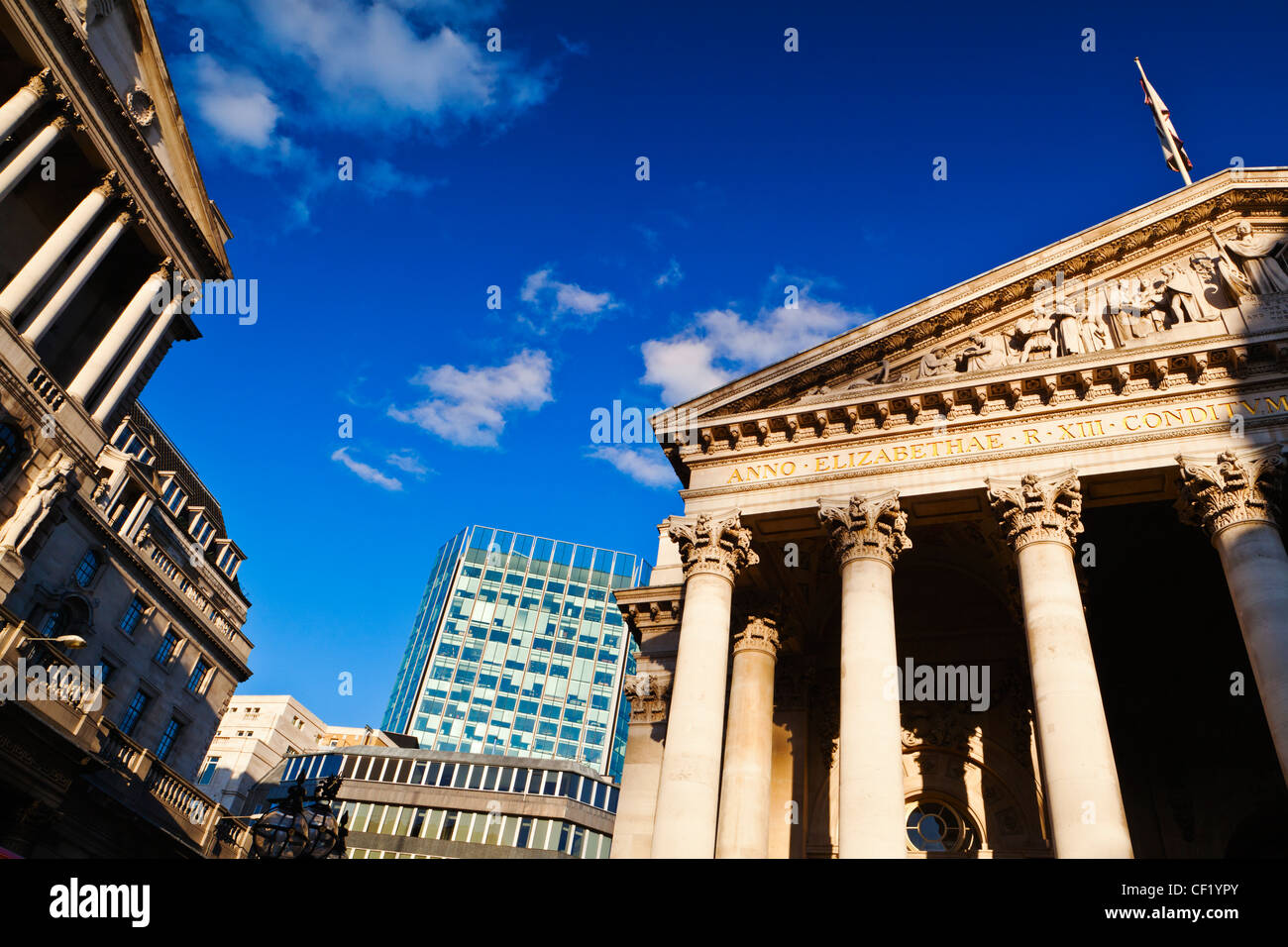 The portico over the main entrance to the Royal Exchange in the City of London. The Royal Exchange reopened in 2001 - Stock Image