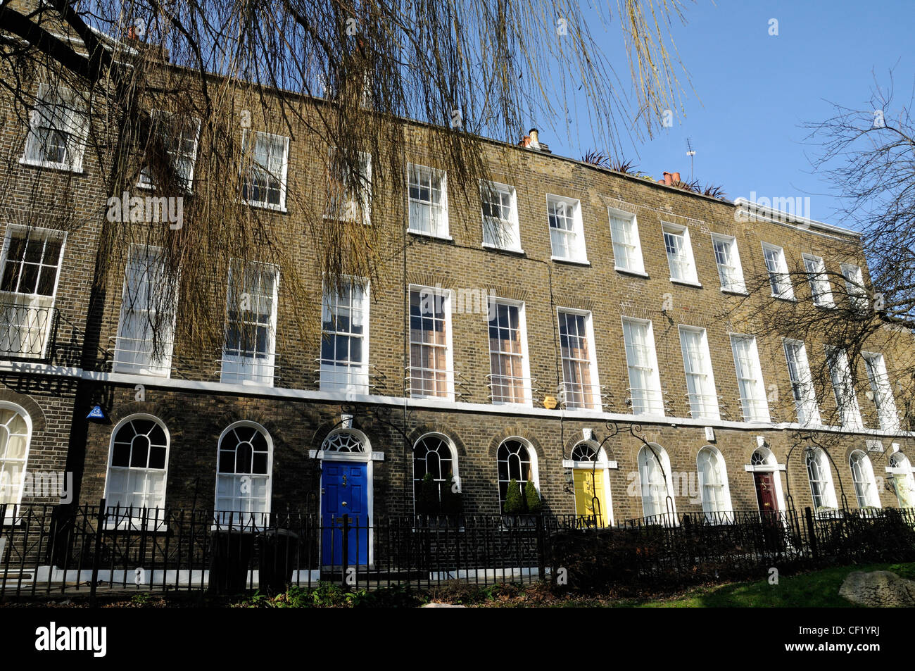 Duncan Terrace, row of Georgian terraced house Islington London England UK Stock Photo