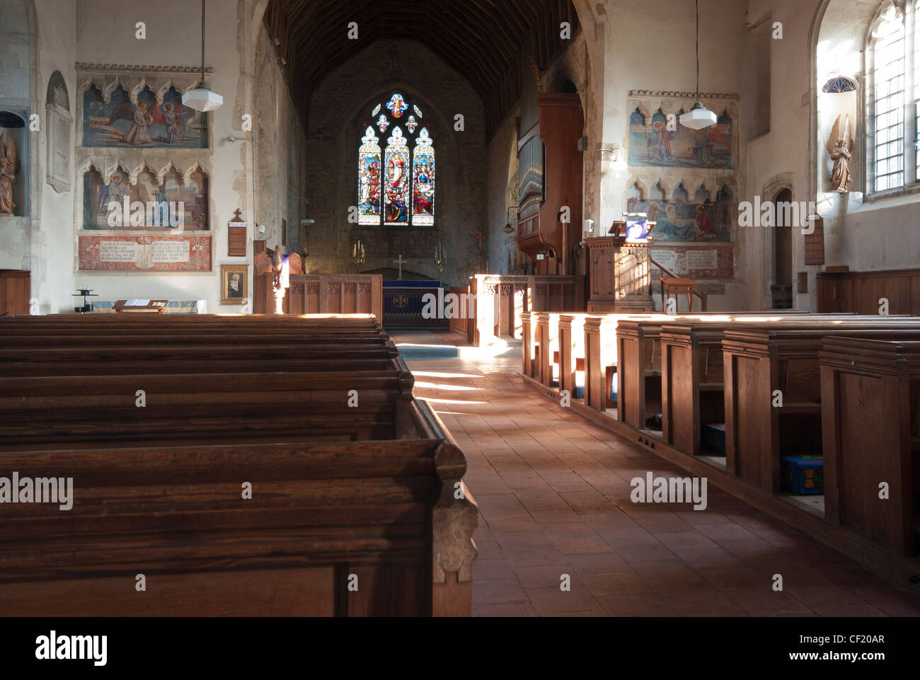 Inside Interior Of St Saint Michael The Archangel Parish Church Smarden Kent UK Village Churches - Stock Image