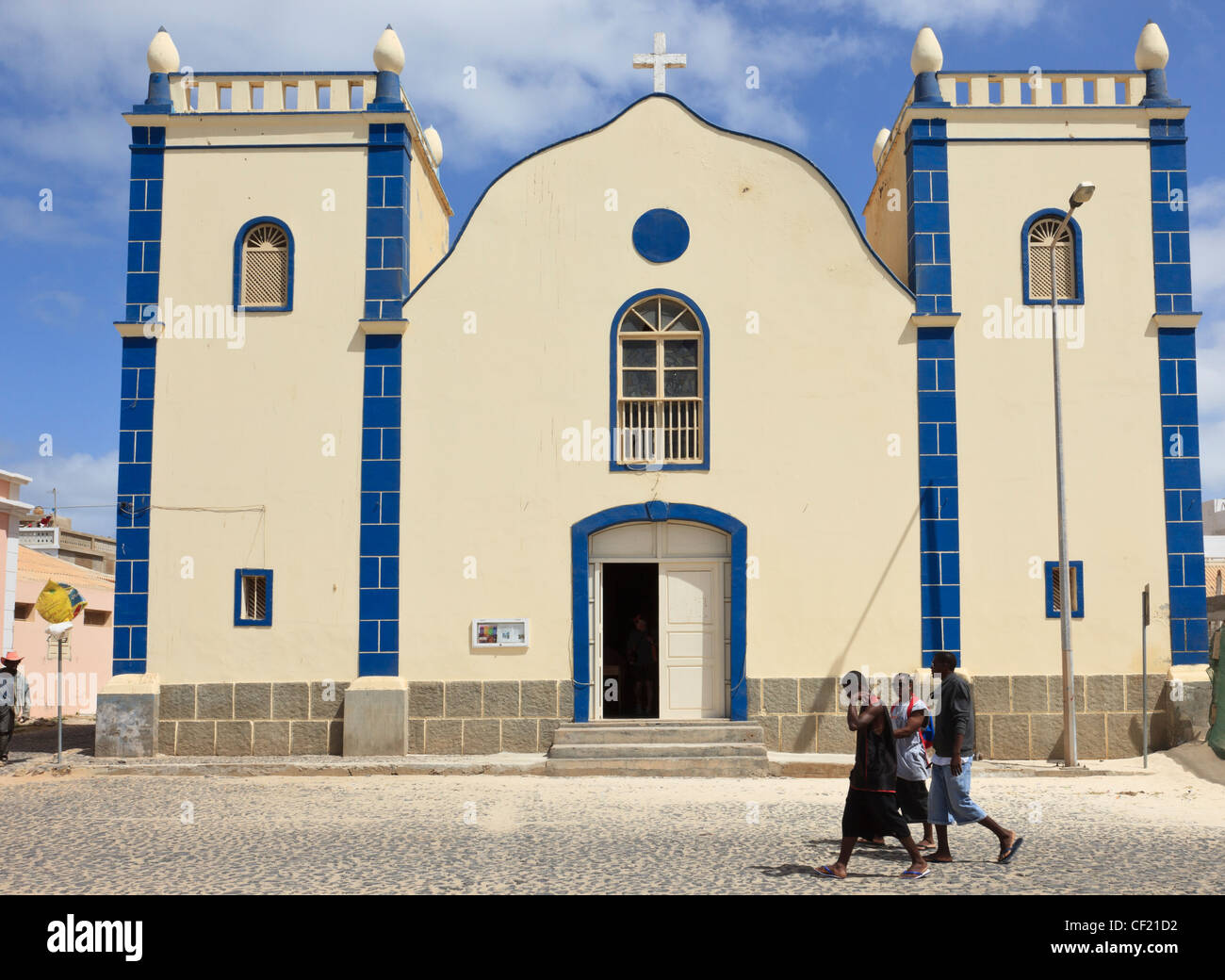 Colonial architecture of Catholic Church of St Isobel front. Largo Santa Isobel, Sal Rei, Boa Vista, Cape Verde - Stock Image
