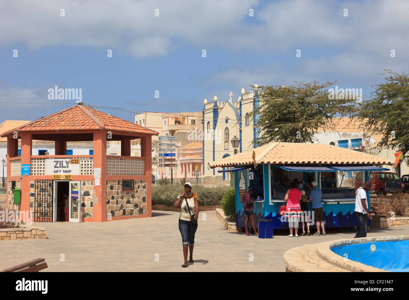 Gift shop and ice cream parlour in the main square of the city of Sal Rei, Boa Vista, Cape Verde Islands - Stock Image