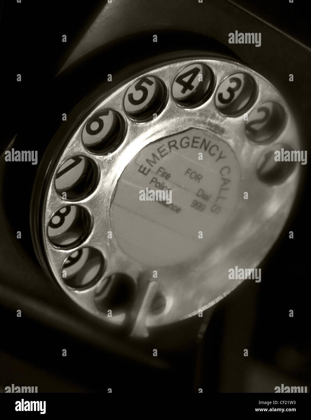 Black Telephone dial Emergency Call - 999 - Stock Image