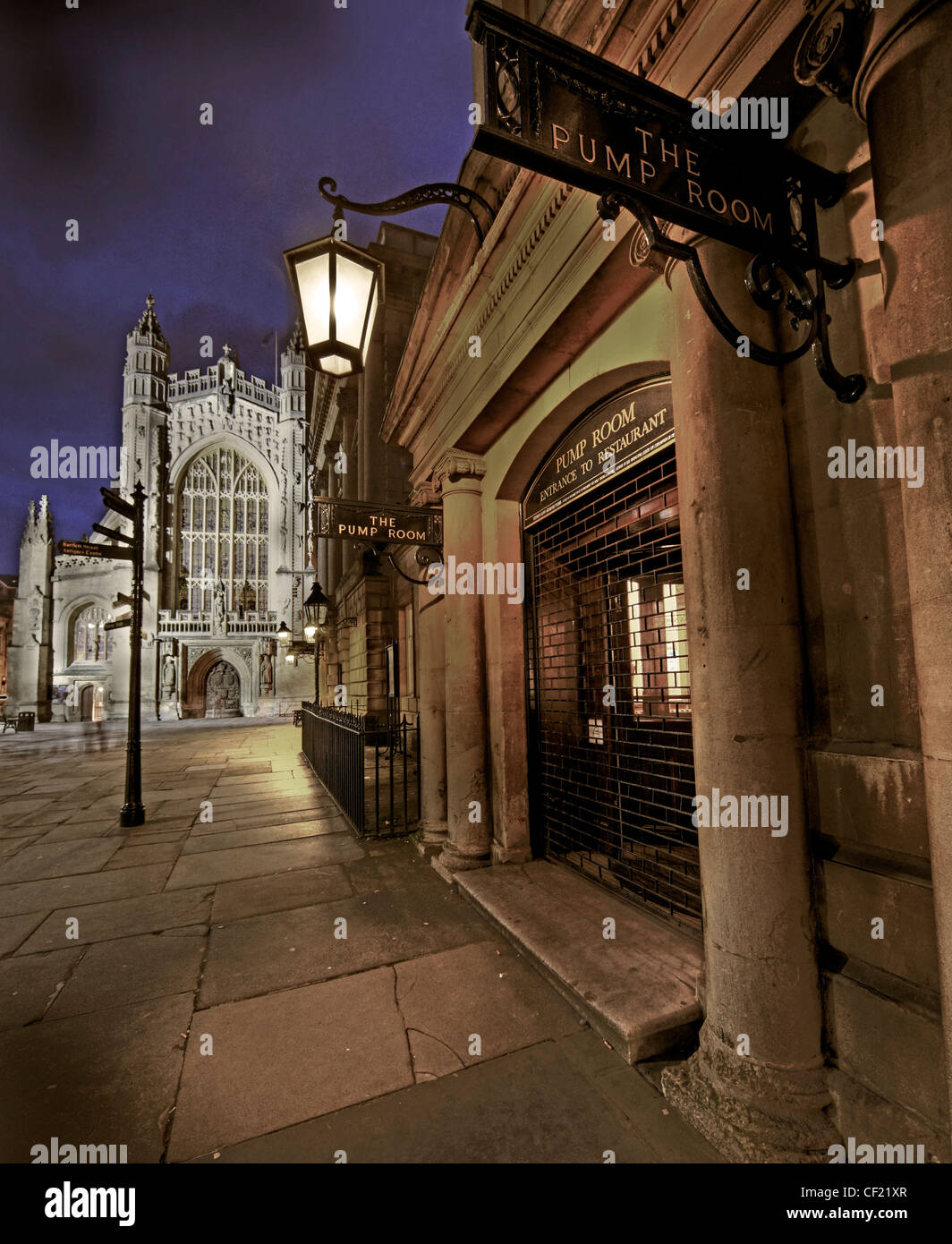 City of Bath, Pump Room and Abbey at Dusk Uk GB Stock Photo