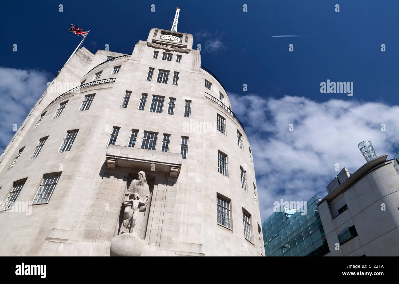Broadcasting House, built in 1932, the BBC's corporate headquarters. The building was designed by Lieutenant - Stock Image