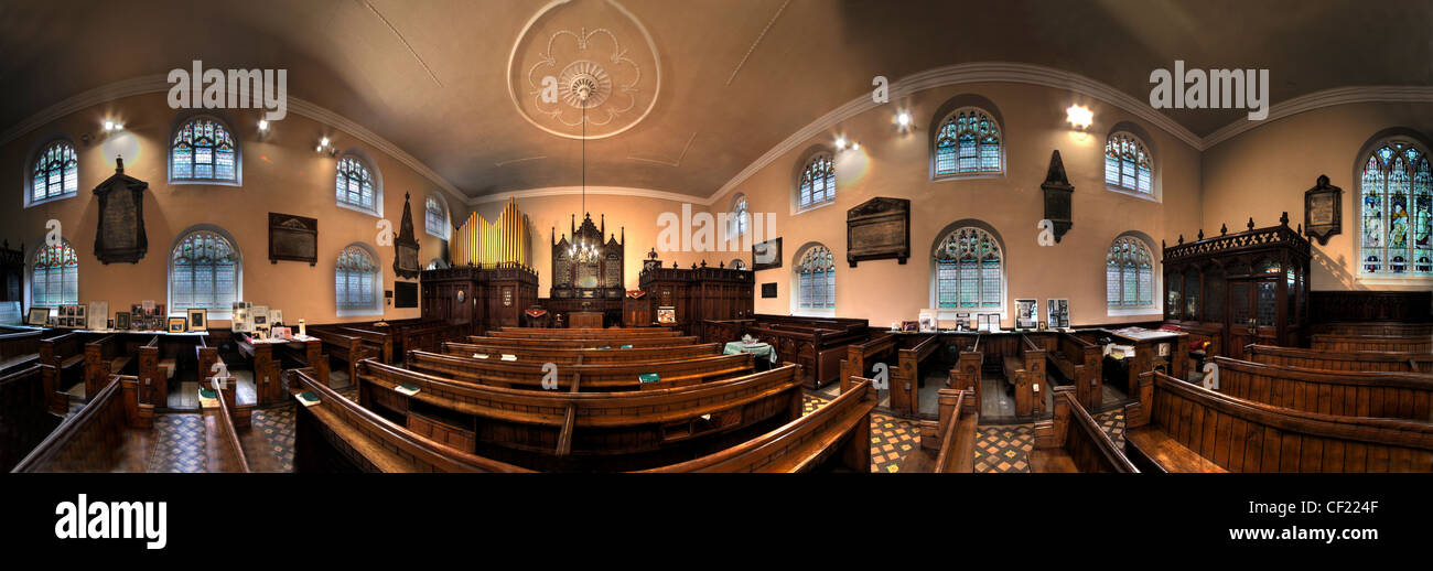 Interior panorama of Cairo Street Chapel, Warrington, Cheshire UK. - Stock Image