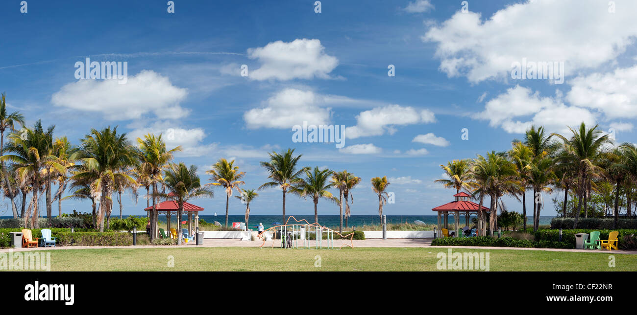 Beach Access Park Panoramic Composite Image - Lauderdale-by-the-Sea, Florida, USA Stock Photo