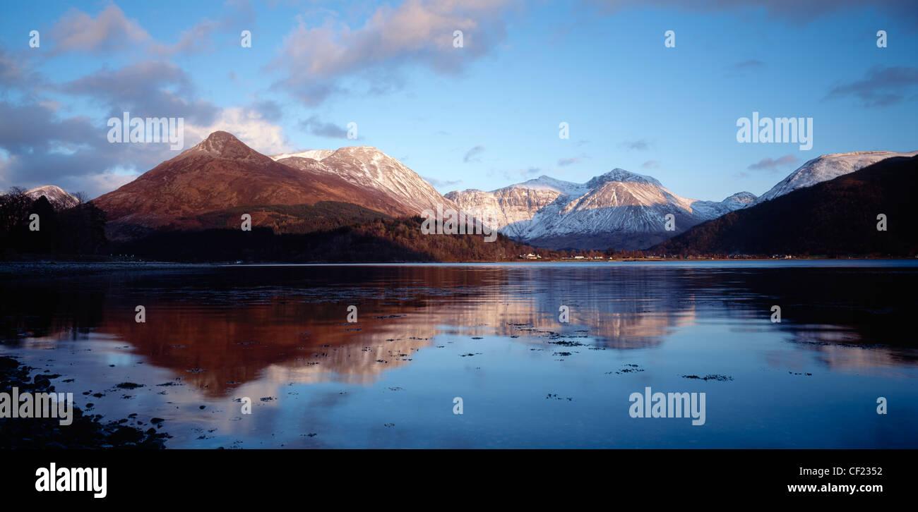 The Pap of Glencoe and Bidean nam Bian viewed across Loch Leven, Lochaber, Highland, Scotland, UK. Stock Photo