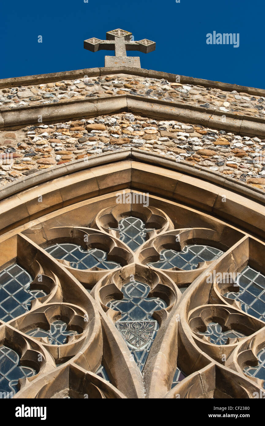 Looking up at stained glass window of St Marys Parish Church, Fowlmere, Cambridgeshire Stock Photo