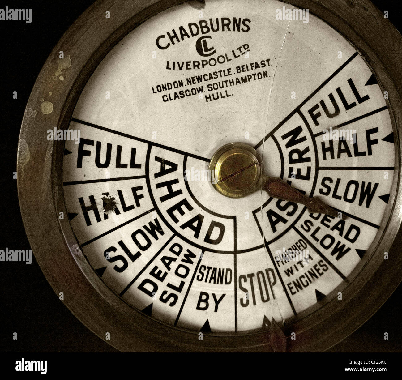 An engine order telegraph or E.O.T., often also called a Chadburn, is a communications device used on a ship to - Stock Image