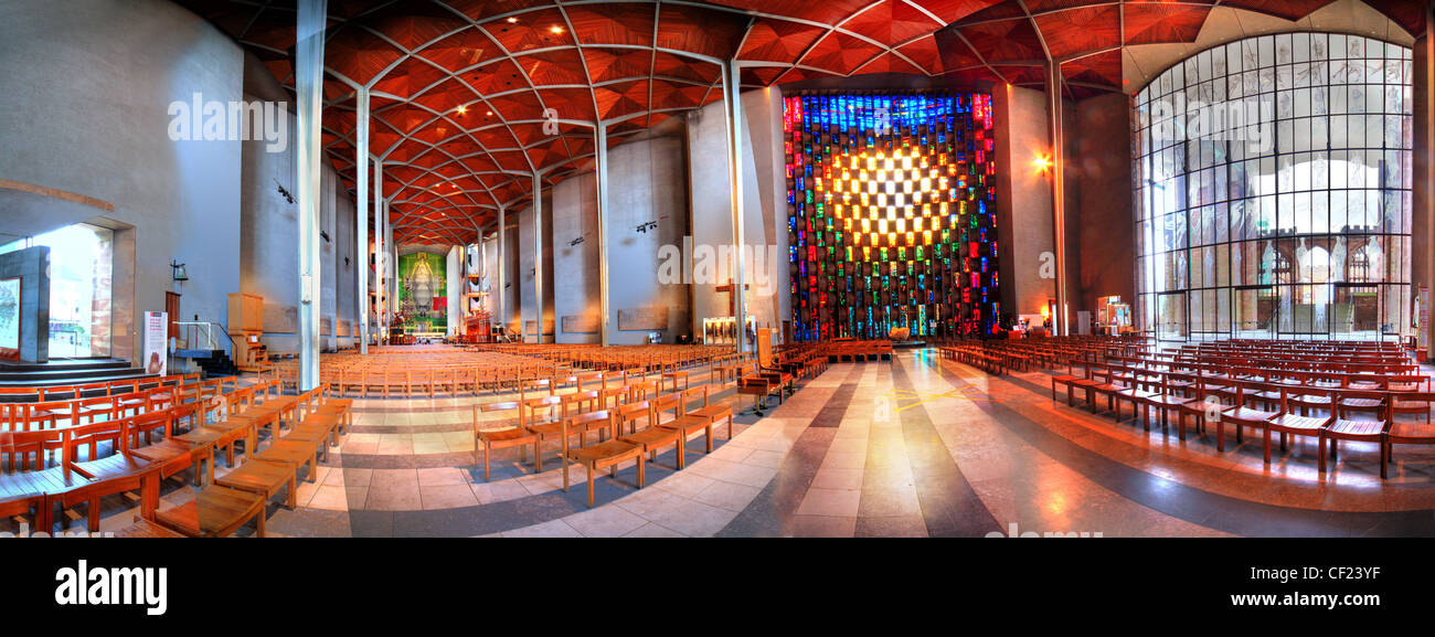 Coventry (New) Cathedral Interior Panorama, Warwickshire, England UK This wide view shows the window - Stock Image