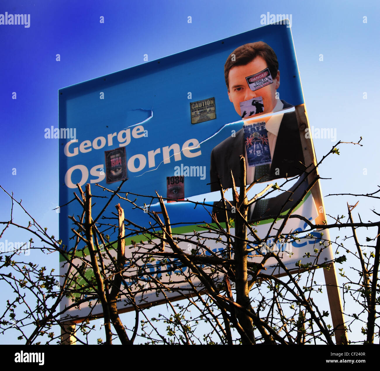 Defaced Apr 2010 Election Poster for George Gideon Osbourne now elected MP and Conservative Chancellor for Tatton - Stock Image