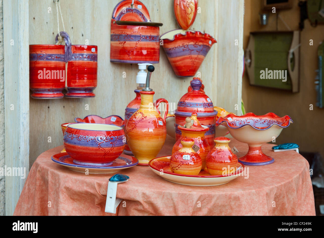 shop with colorful handmade pottery outdoor - Stock Image