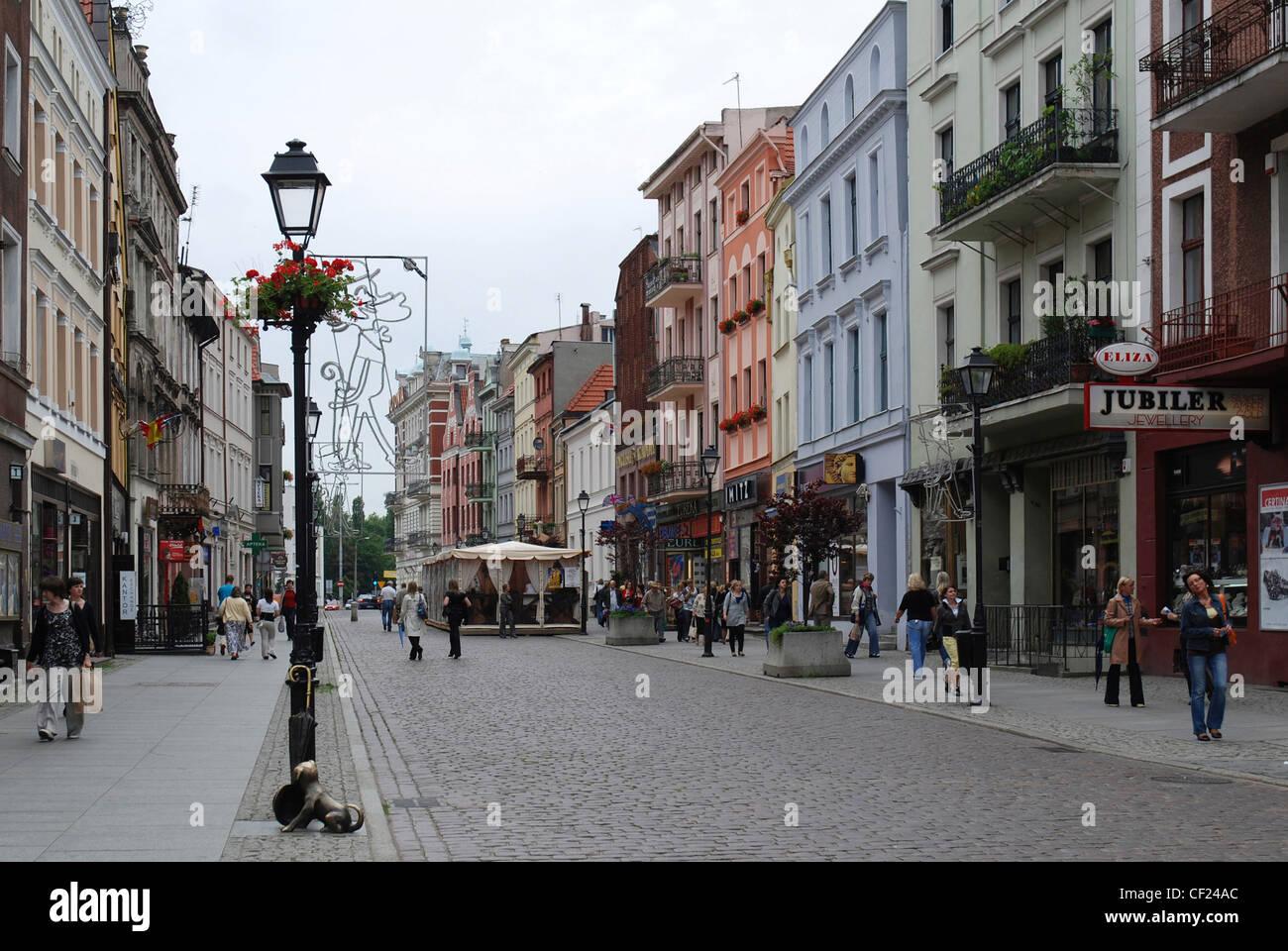 Pedestrian precinct in the old town of Torun. - Stock Image