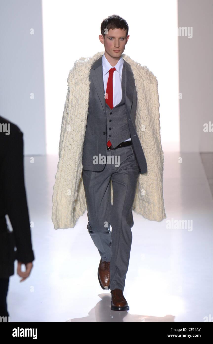 48fc432b605a Sonia Rykiel Paris Ready to Wear Three Piece Suit: Model short brown hair  wearing grey